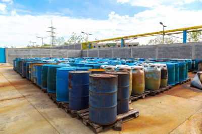 barrels of hazardous waste awaiting treatment