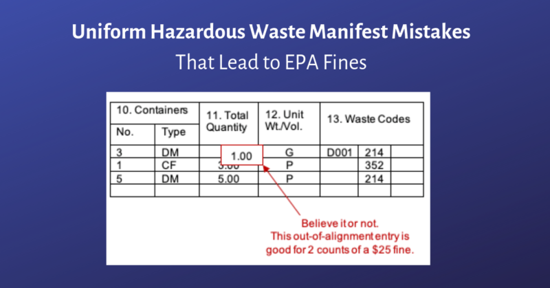 Uniform Hazardous Waste Manifest Mistakes